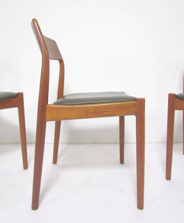 Set Of Six Danish Teak Dining Chairs With Carved Backs By