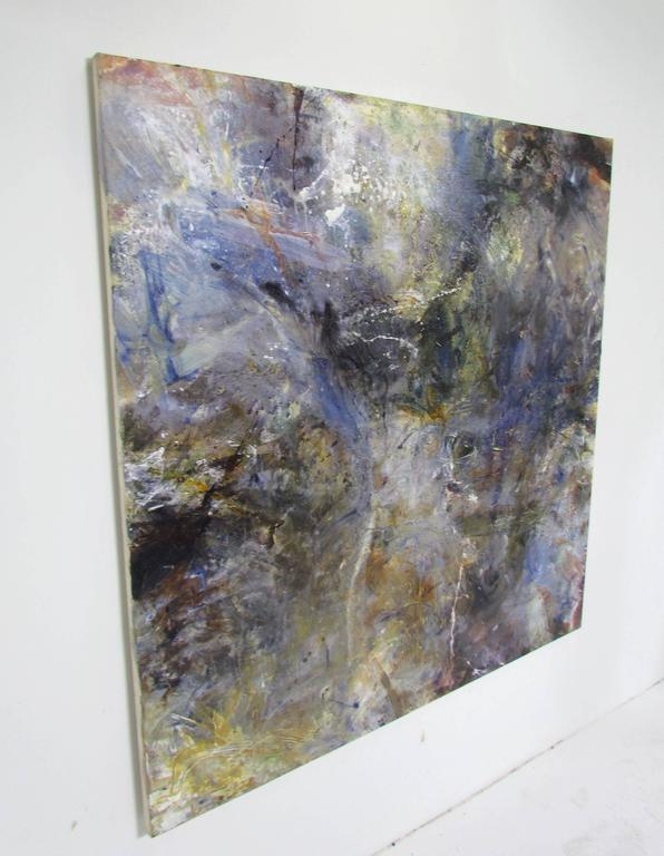 "Large (54"" x 57"") abstract oil by noted English artist Rachel Budd, titled ""English Sky"" and dated 2002. Budd's expressionist works are heavily influenced by the atmospherics of her native Cornwall and the works of her predecessors John Constable"