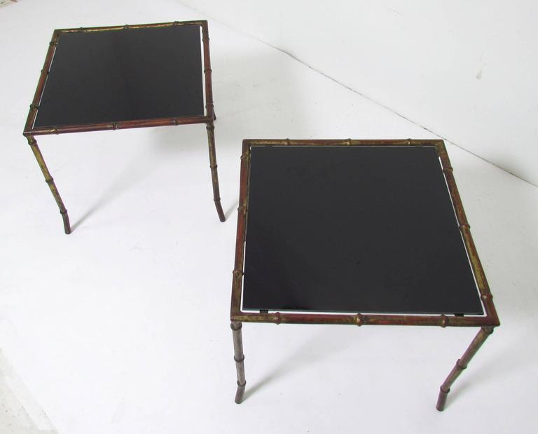 Pair of Hollywood Regency Gilded Faux Bamboo End Tables, Manner of Maison Bagues For Sale 1
