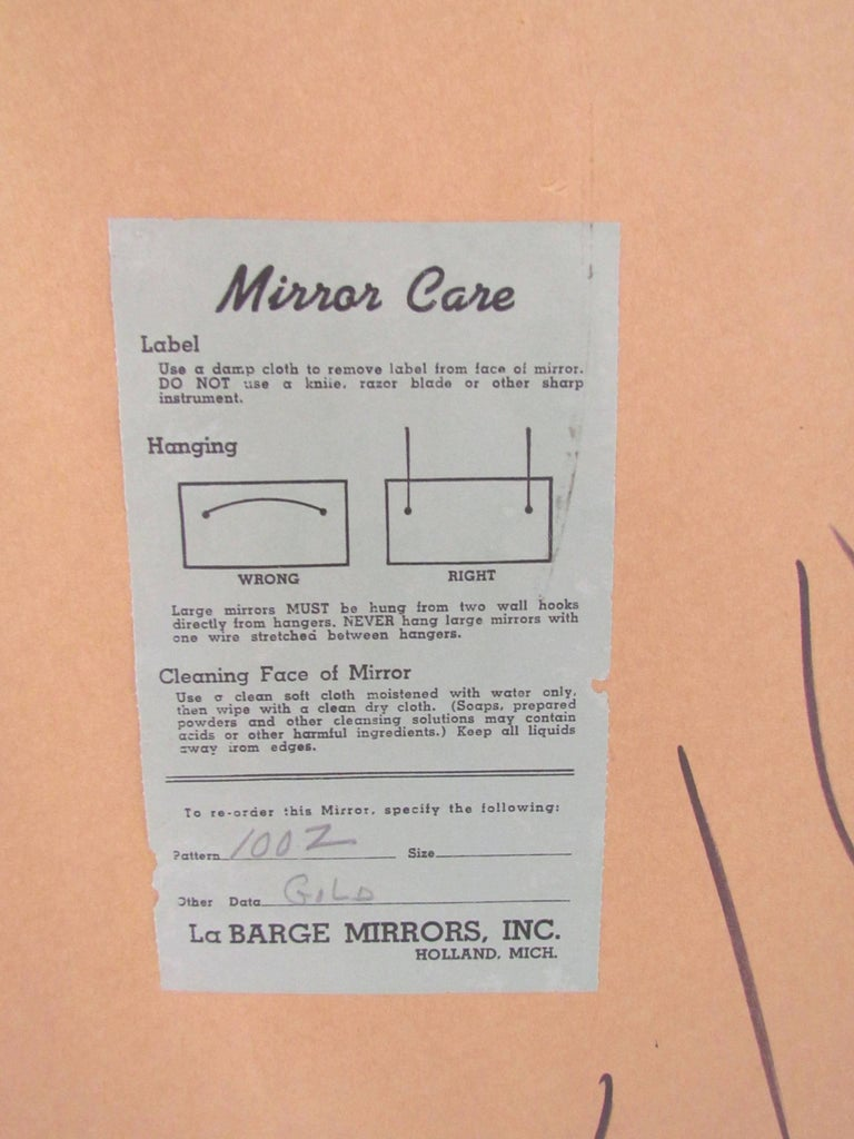 Hollywood Regency Gold Leaf Oval Wall Mirror Signed La Barge For Sale 3