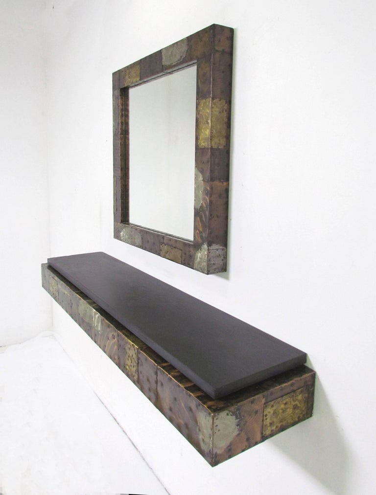 Mid-Century Modern Paul Evans Patchwork Wall-Mounted Mirror and Console For Sale
