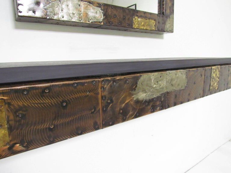 Paul Evans Patchwork Wall-Mounted Mirror and Console In Good Condition For Sale In Peabody, MA