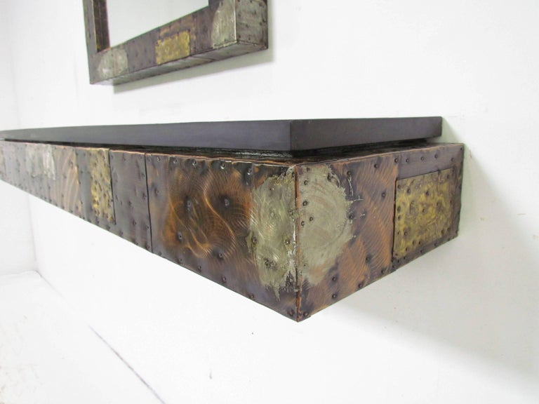 Late 20th Century Paul Evans Patchwork Wall-Mounted Mirror and Console For Sale