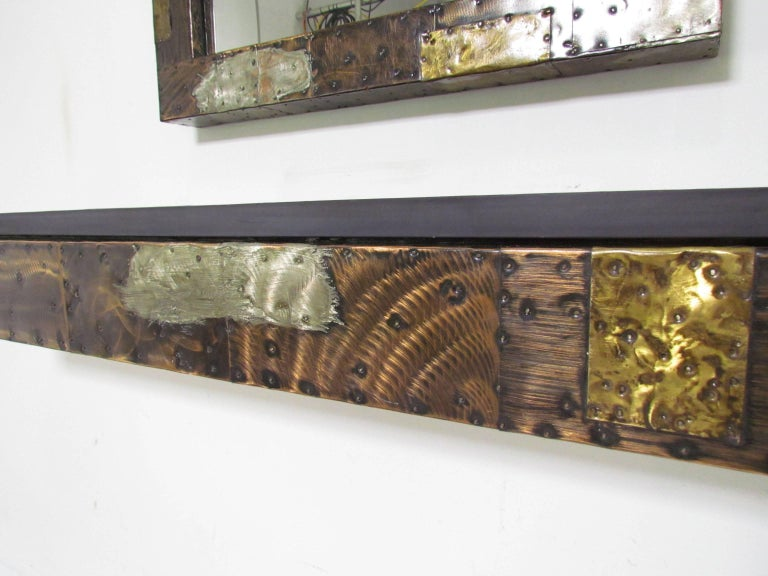 Metal Paul Evans Patchwork Wall-Mounted Mirror and Console For Sale