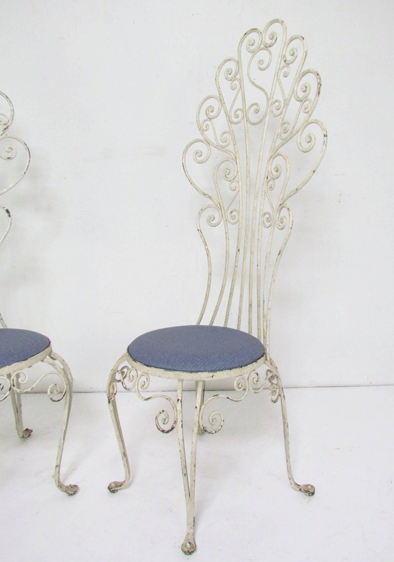 Pair Of High Back Peacock Wrought Iron Patio Chairs Circa