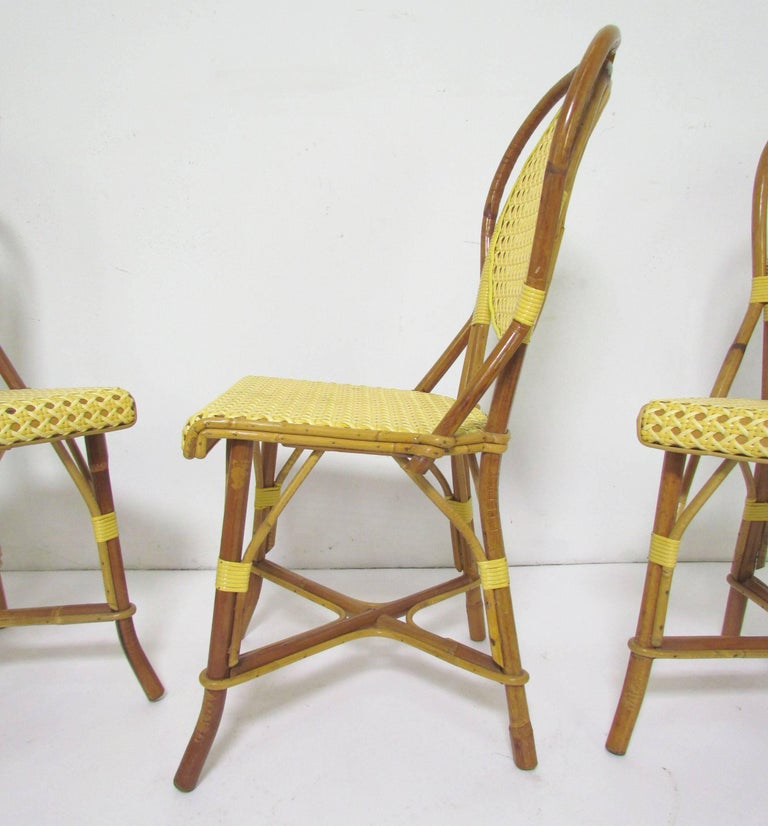 Set of four vintage j gatti french handmade bistro dining chairs bamboo and cane for sale at - Cane bistro chairs ...