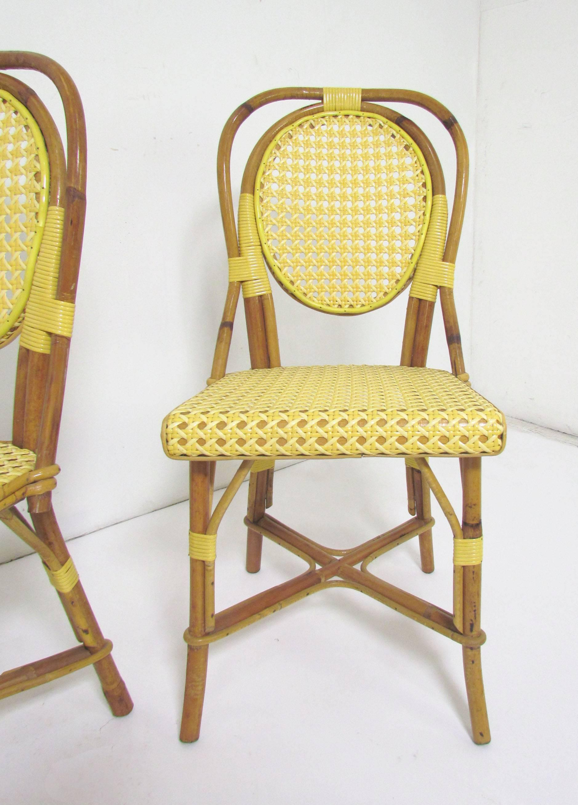 Hollywood Regency Set Of Four Vintage J. Gatti French Handmade Bistro  Dining Chairs, Bamboo