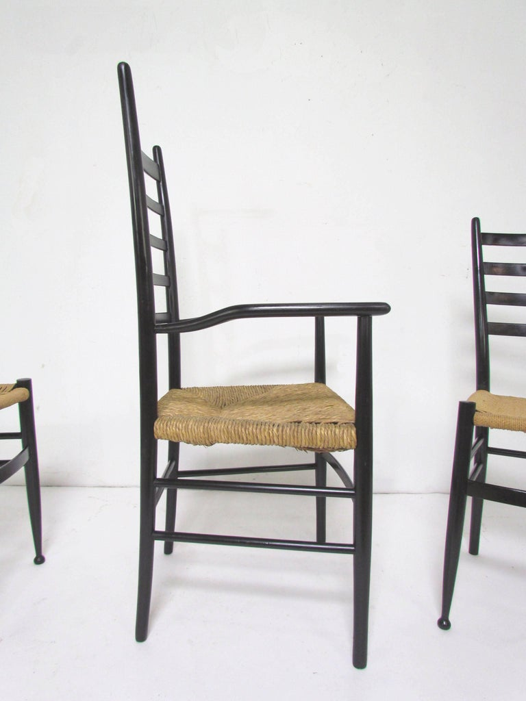 Set of six italian ladder back dining chairs in the style of gio ponti for sale at 1stdibs - Ladder back dining room chairs ...