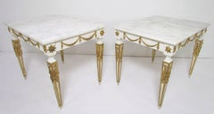 Pair of Italian Neoclassical Marble and Parcel Gilt End Tables ca. 1960s