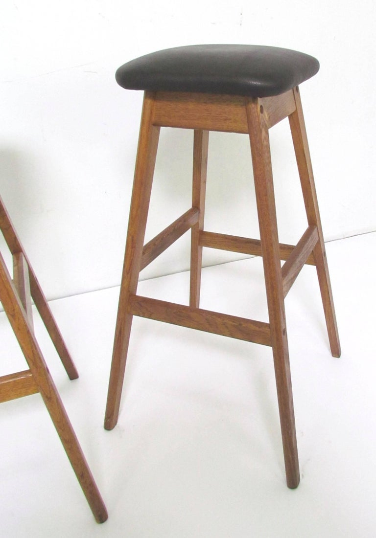 Set Of Three Danish Teak And Leather Bar Stools By Vamdrup