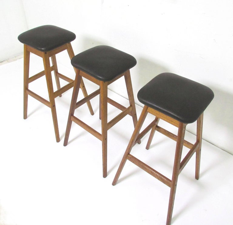 Set Of Three Danish Teak And Leather Bar Stools By Vamdrup