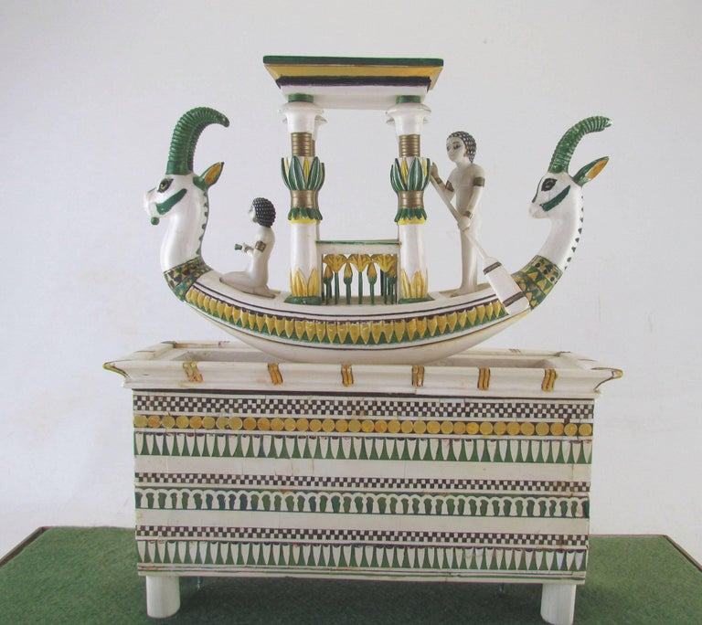 Egyptian Hand Built Replica of a Tutankhamun Era Ship by Ramon Parga, circa 1940s For Sale