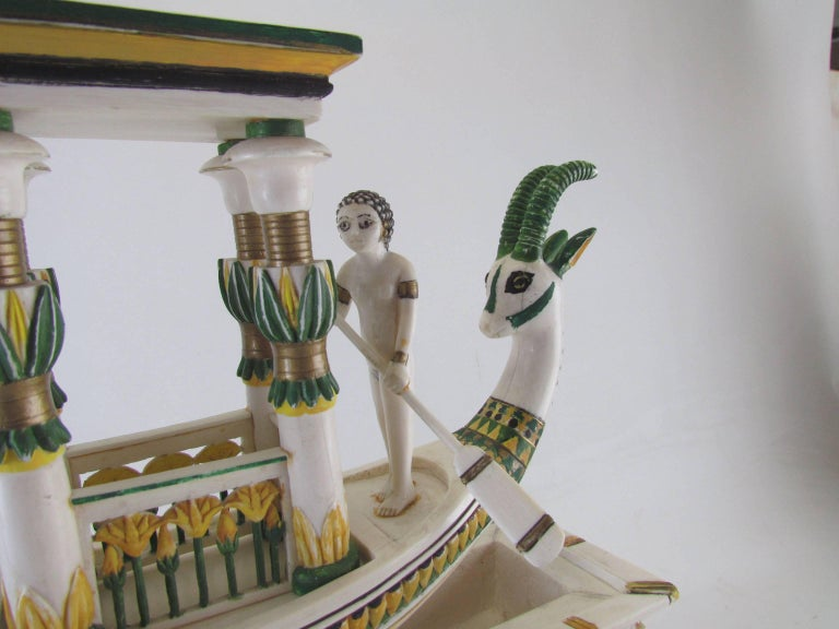 Mid-20th Century Hand Built Replica of a Tutankhamun Era Ship by Ramon Parga, circa 1940s For Sale