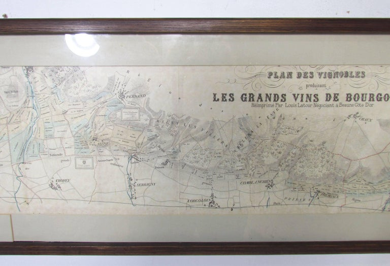 Early 20th Century Panoramic Antique Lithographic Map for Louis Latour, Burgundy France Region For Sale