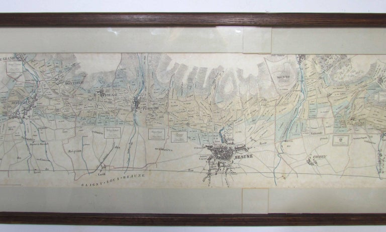 Panoramic Antique Lithographic Map for Louis Latour, Burgundy France Region In Good Condition For Sale In Peabody, MA