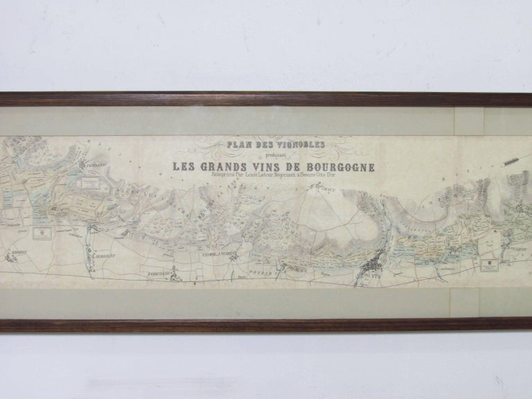 Panoramic detailed map of the vineyards of the Bourgogne (Burgundy) region of France, made for the legendary Louis Latour winemakers. This rare framed lithograph is a circa 1920s, reprint of a 19th century map designating the location and terroir of