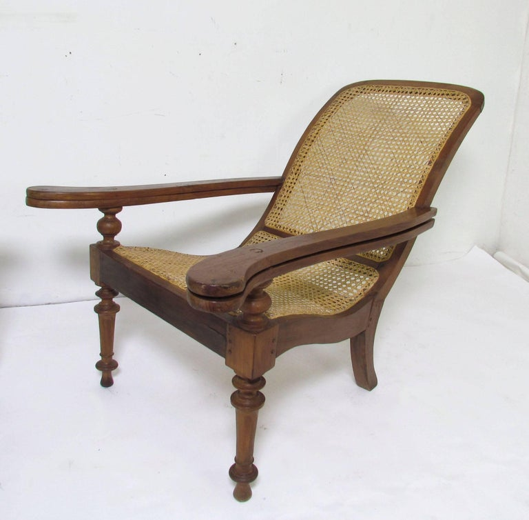 Antique Paddle Arm British Colonial Plantation Lounge