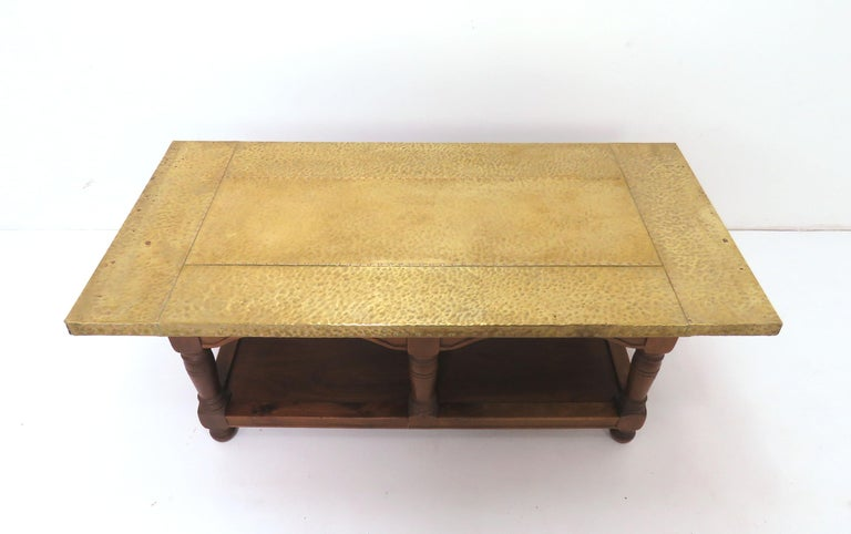 Signed Sarreid Brass Clad And Walnut Coffee Table For Sale At Stdibs - Studded coffee table