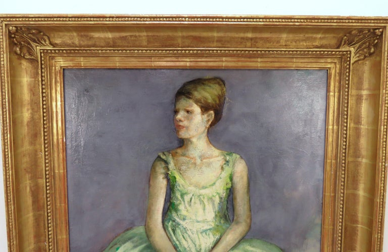 Portrait of a young ballerina by noted artist Charles Lanier, circa 1960s, in a carved gilt frame by Los Angeles frame maker Richard Tobey.