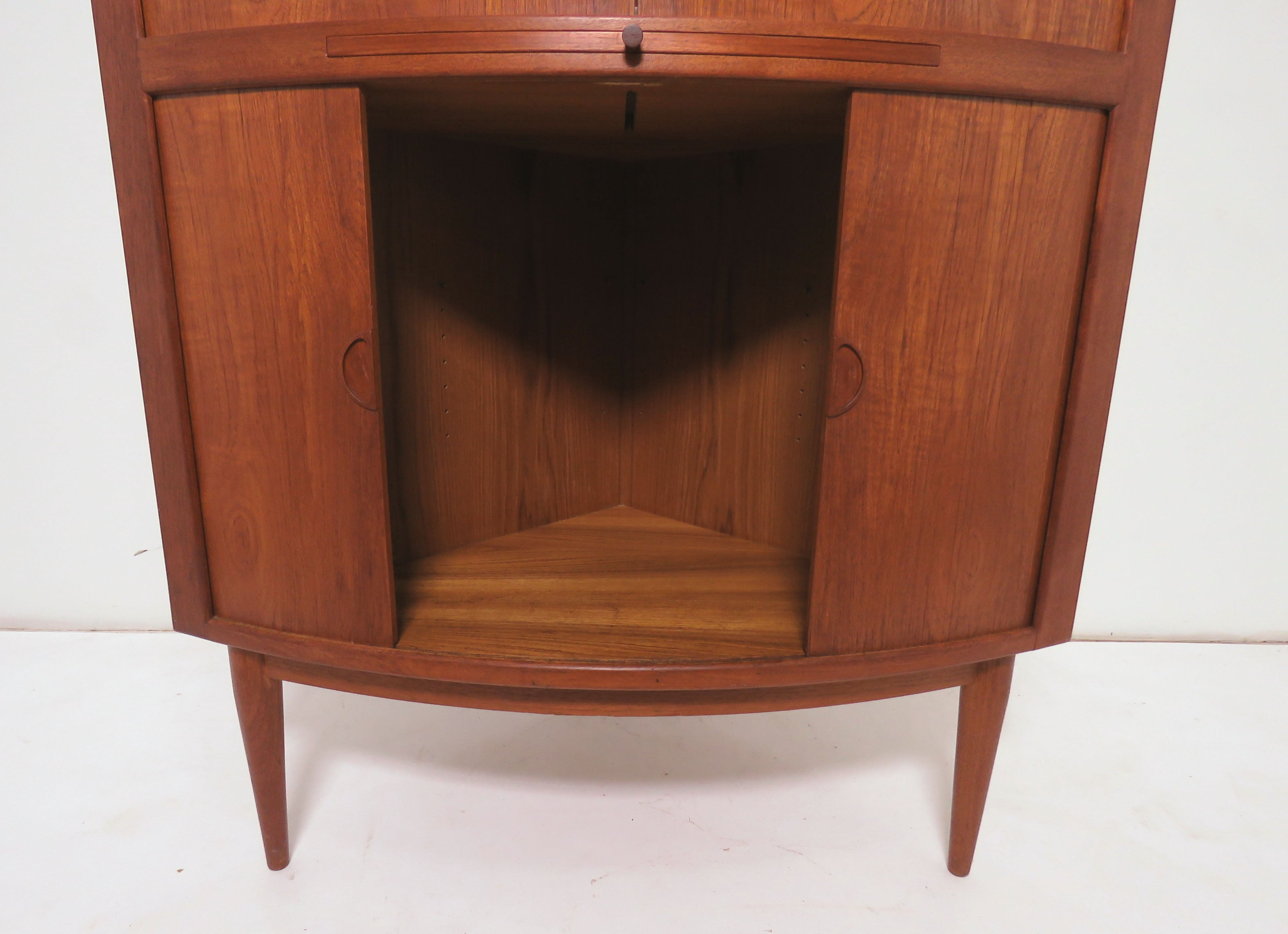 Danish Teak Corner Dry Bar Cabinet With Tambour Doors Circa 1960s