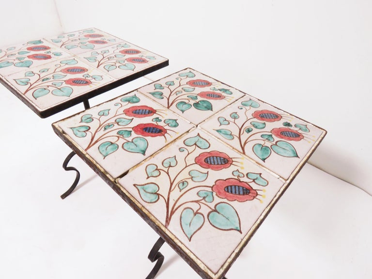 Mid-Century Modern Pair of Ceramic Tile and Wrought Iron Side Tables, circa 1960s For Sale
