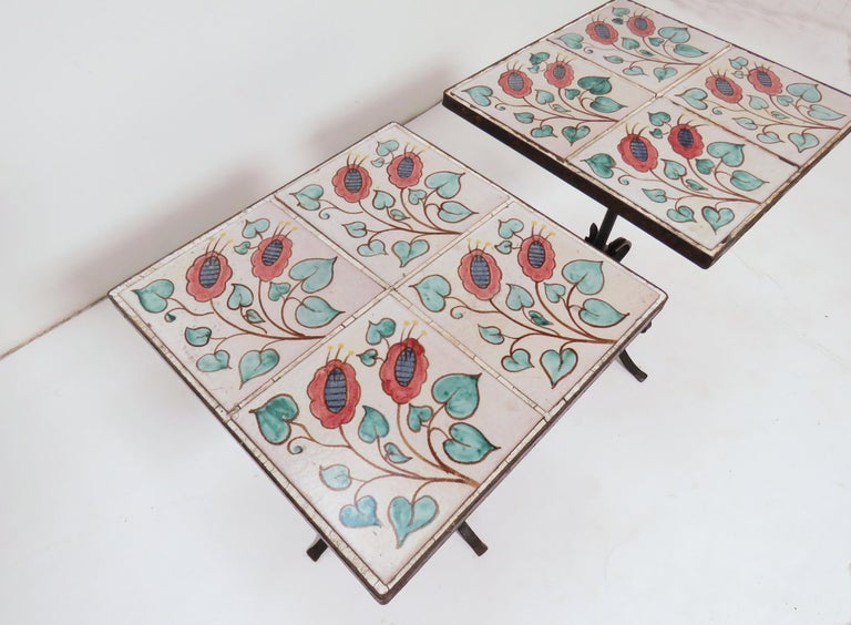 Unknown Pair of Ceramic Tile and Wrought Iron Side Tables, circa 1960s For Sale