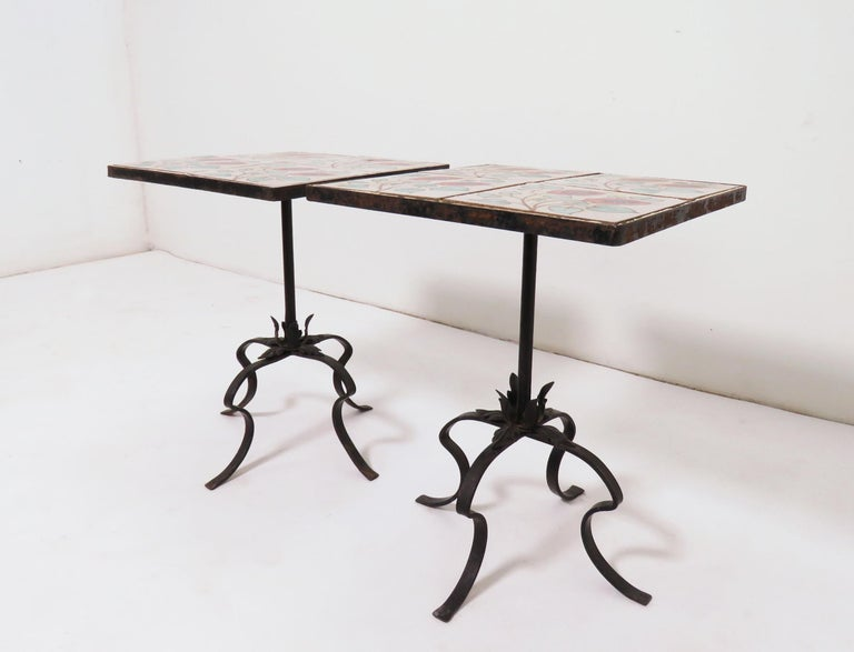 Pair of Ceramic Tile and Wrought Iron Side Tables, circa 1960s In Good Condition For Sale In Peabody, MA