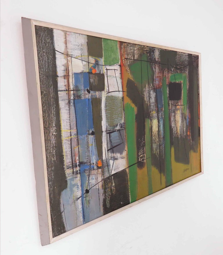 Modernist abstract Expressionist oil on canvas by listed Israeli artist Shmuel Raayoni (Ra'ayoni), circa 1960s. Ra'ayoni was a founding member of the