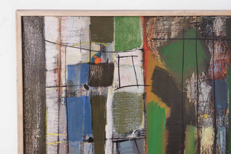 Mid-Century Modern Abstract Expressionist Painting by Important Israeli Artist Shmuel Raayoni For Sale