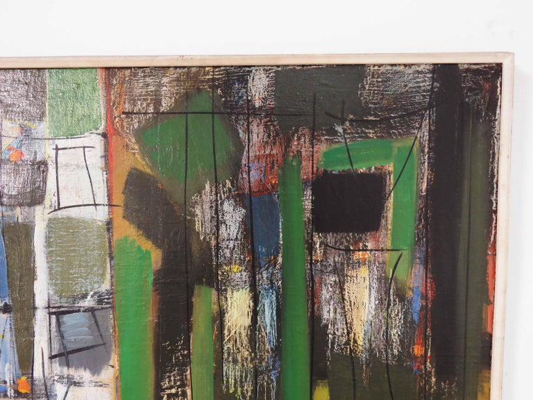 Mid-20th Century Abstract Expressionist Painting by Important Israeli Artist Shmuel Raayoni For Sale