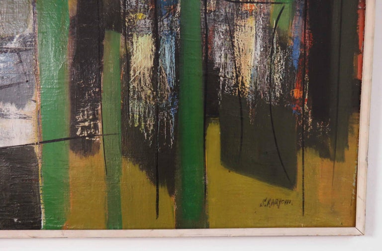 Canvas Abstract Expressionist Painting by Important Israeli Artist Shmuel Raayoni For Sale