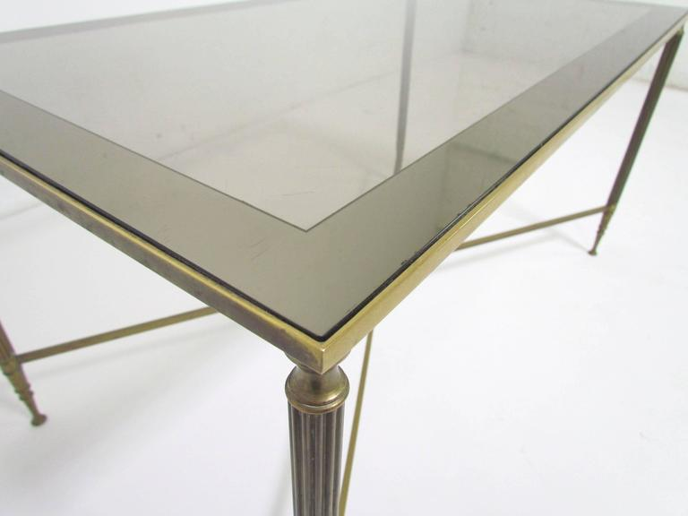 Glass Hollywood Regency Cocktail Coffee Table in the Style of Maison Jansen For Sale