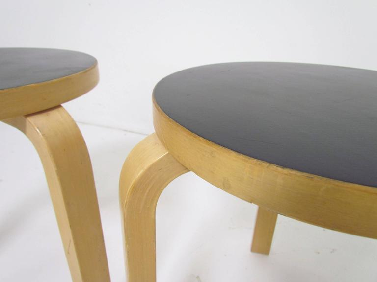 Pair Of Classic Three Legged Stacking Stools By Alvar