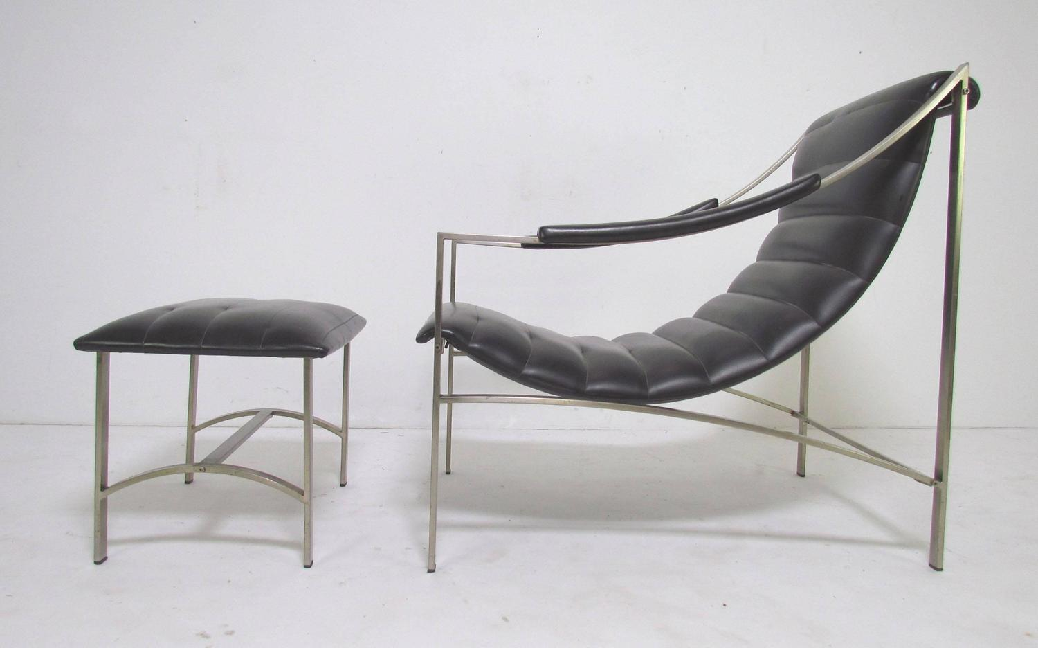 Italian Sling Lounge Chair and Ottoman in Manner of Milo