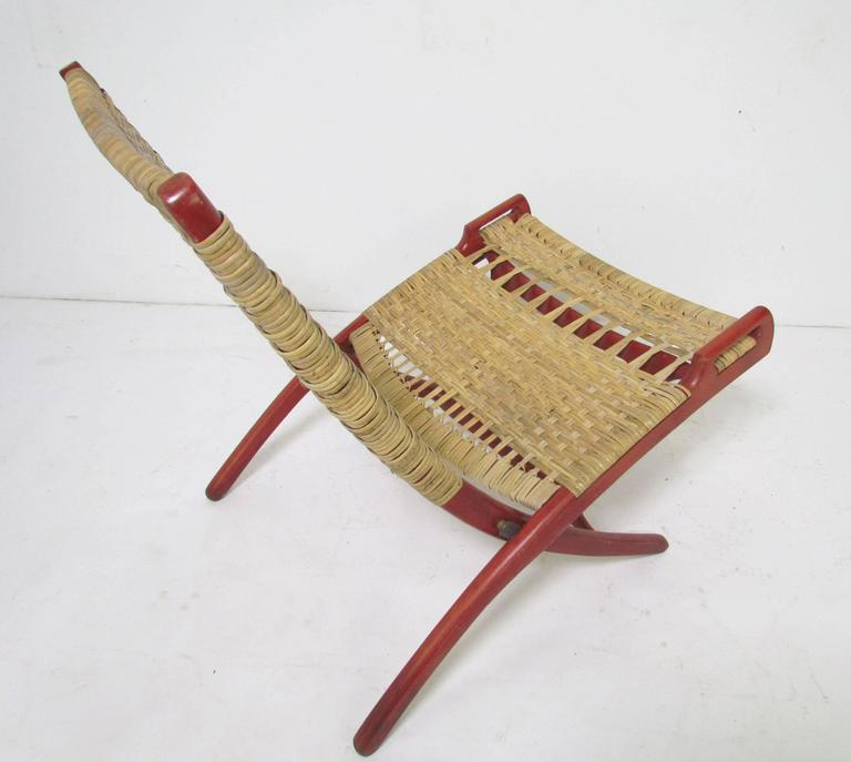 Pair Of Mid Century Cane Folding Safari Chairs In The