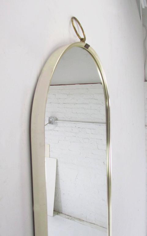 Italian Modernist Full Length Oval Wall, Full Length Mirror Oval Top