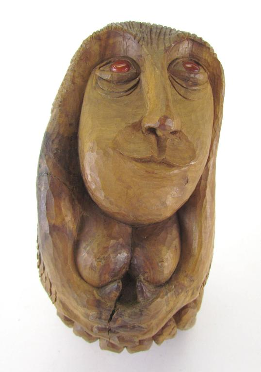 Mid-Century Modern Carved Wood Mid-Century Sculpture of a Female Form by Diane Derrick For Sale