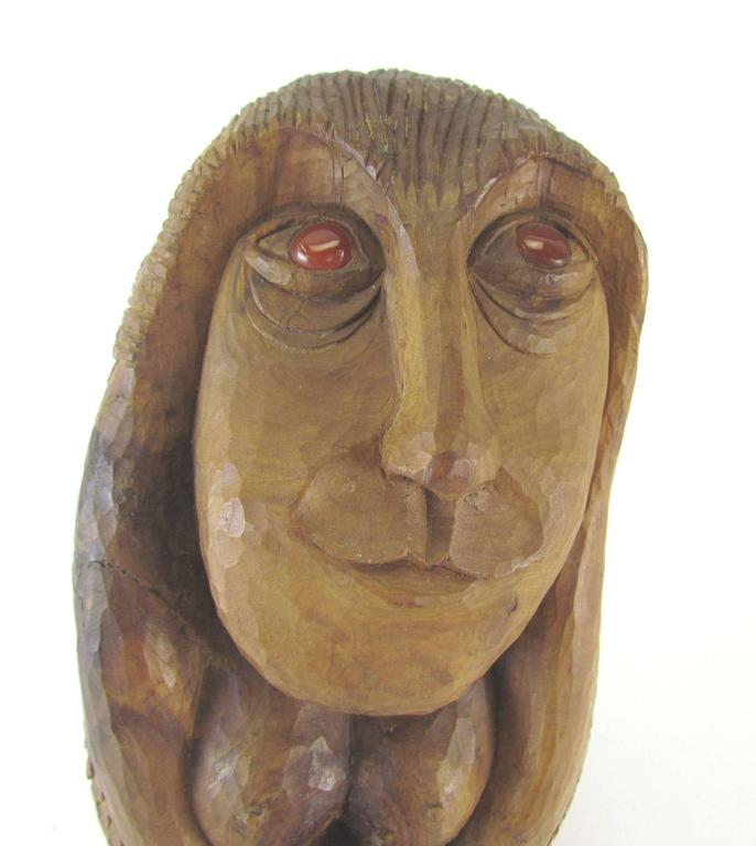 American Carved Wood Mid-Century Sculpture of a Female Form by Diane Derrick For Sale