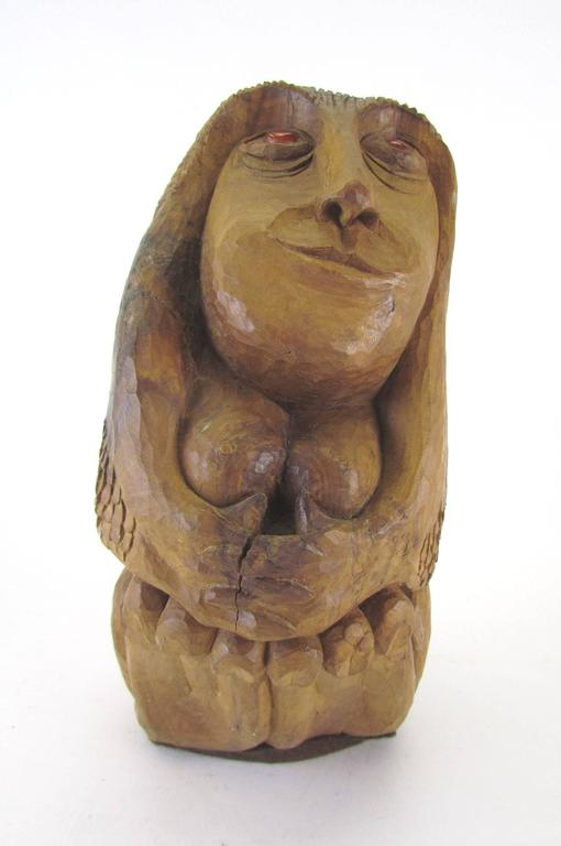 """Carved wood sculpture of a female form titled """"Apple Mary"""" by Diane Derrick, circa 1972.   Diane Derrick is renowned for her allegorical sculptures of women and for her many years of activism in the gay and lesbian rights movement. She began"""