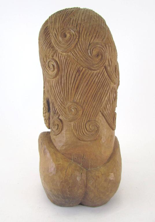 Carved Wood Mid-Century Sculpture of a Female Form by Diane Derrick In Excellent Condition For Sale In Peabody, MA