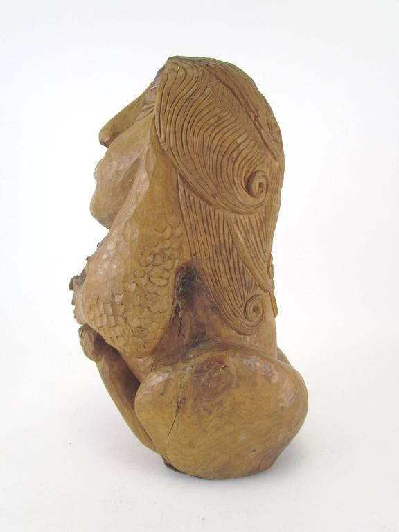 Carved Wood Mid-Century Sculpture of a Female Form by Diane Derrick For Sale 1