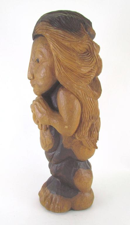 "Mid-Century Modern Carved Wood Mid-Century Sculpture Titled ""Miss Num"" by Diane Derrick For Sale"