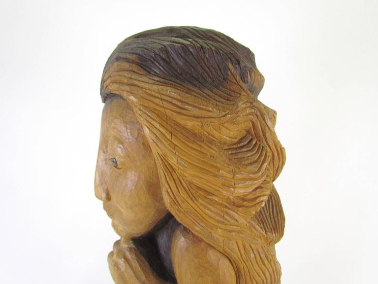 "American Carved Wood Mid-Century Sculpture Titled ""Miss Num"" by Diane Derrick For Sale"