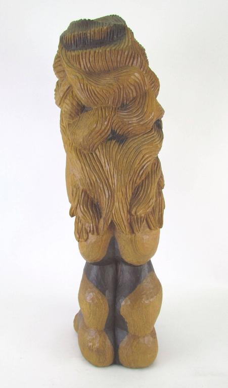 "Carved Wood Mid-Century Sculpture Titled ""Miss Num"" by Diane Derrick For Sale 1"