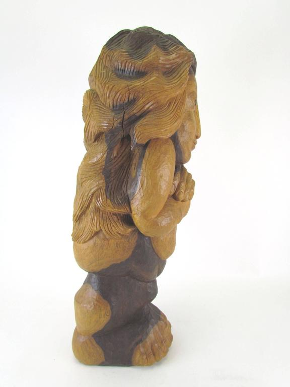 "Carved Wood Mid-Century Sculpture Titled ""Miss Num"" by Diane Derrick In Excellent Condition For Sale In Peabody, MA"