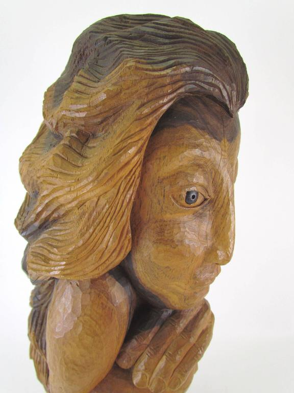 "Late 20th Century Carved Wood Mid-Century Sculpture Titled ""Miss Num"" by Diane Derrick For Sale"