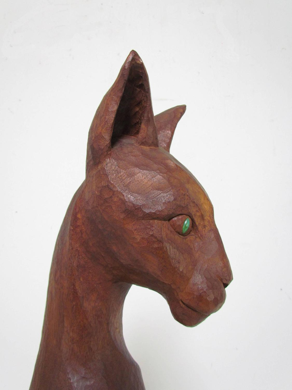 Large carved wood sculpture of a majestic tom cat by diane