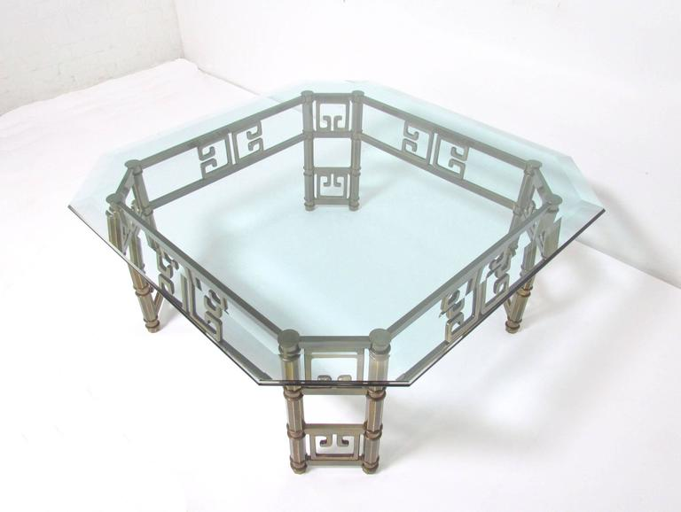 American Mastercraft Coffee Table in Brass with Greek Key Motif and Octagonal Glass Top For Sale