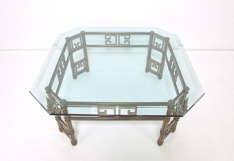 Hollywood Regency Mastercraft Coffee Table in Brass with Greek Key Motif and Octagonal Glass Top For Sale