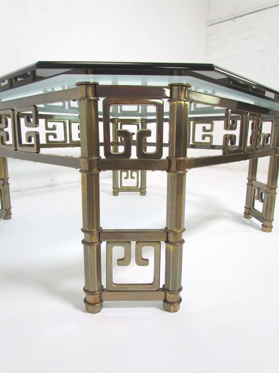Late 20th Century Mastercraft Coffee Table in Brass with Greek Key Motif and Octagonal Glass Top For Sale